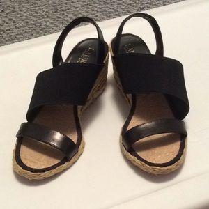 Ralph Lauren Straw Wedge Shoes